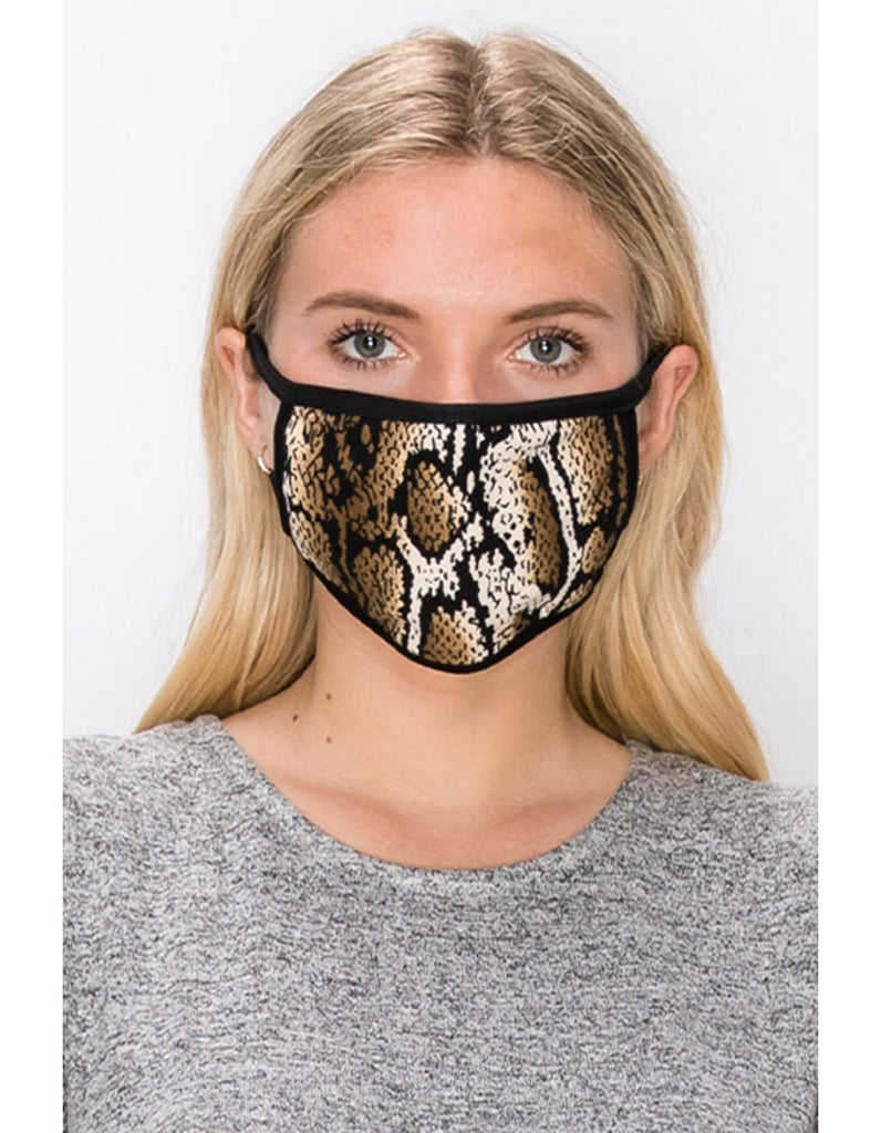 Adult: Reusable Face Mask, Brown Python