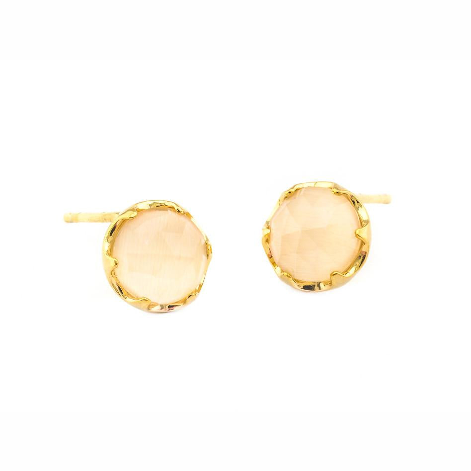 Cat's Eye Peach Studs
