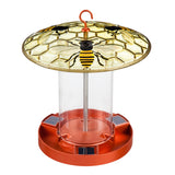 Solar Bird Feeder with Hand painted Embossed Glass, Worker Bees