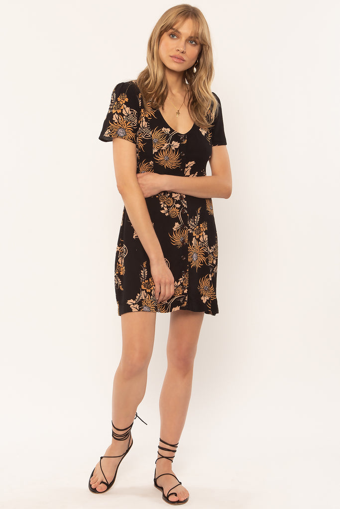 Ali Mini Dress in Black Vintage Floral