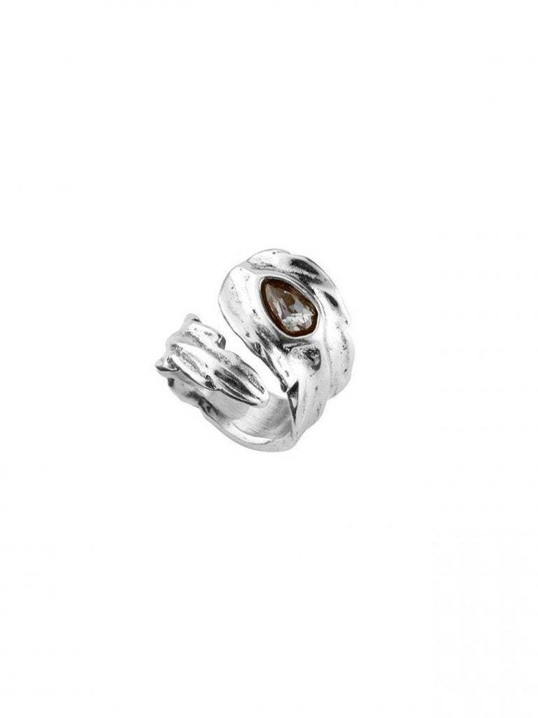 """Look At Me"" Feather Ring – Grey Crystal"