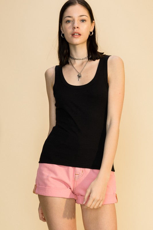 Keri Scoop Neck Tank, Black