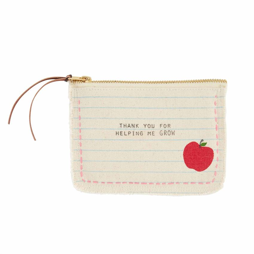 Apple Frayed Teacher Pouch