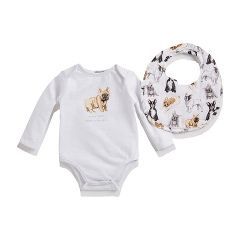 French Bulldog Crawler and Bib Set