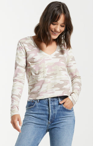 Skimmer Camo Long Sleeve Pocket Tee, Mauve