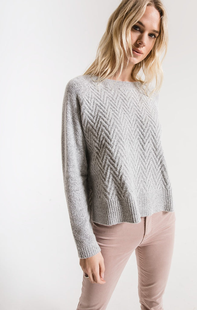 Rag Poets Galia Chevron Sweater In Light Heather Grey