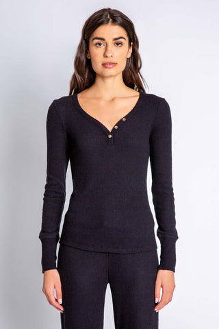 Textured Basics Long Sleeve Top, Black