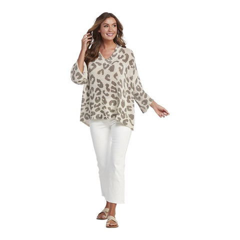 Scarlett Leopard Sweater, White