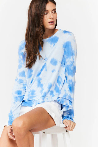 Merick Tie-Dye Long Sleeve Tee, Blue