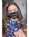 Kids 3-Pack Reusable Face Mask, Black Stripe