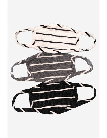 KIDS: 3-Pack Reusable Face Mask, Black Stripe