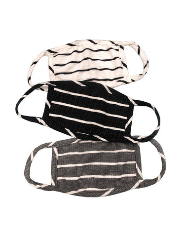 Adult 3-Pack Reusable Face Masks, Black Stripe