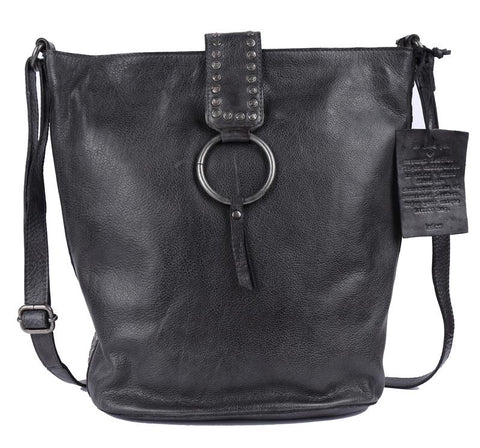 Leora Leather Bag, Black