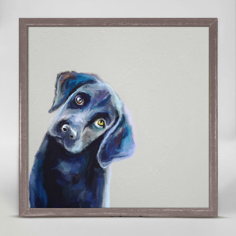 Best Friend Curious Black Lab Mini Framed Canvas