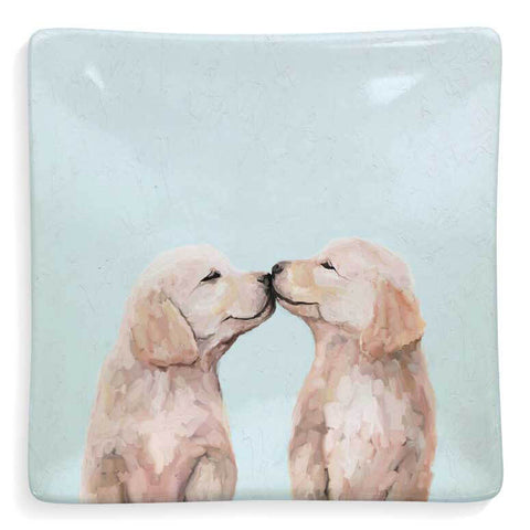 Best Friends Puppy Love Golden Pup Kisses Decorative Dish