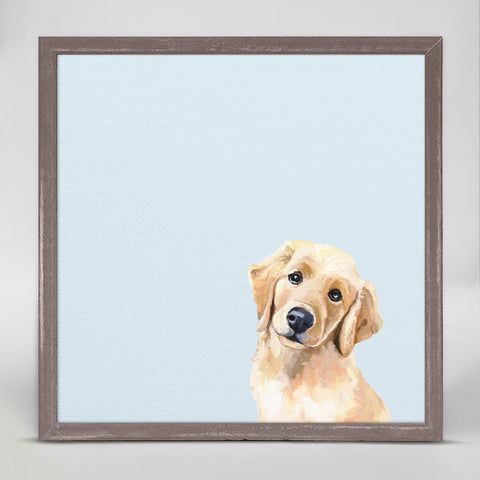 Best Friend Golden Retriever Puppy Mini Framed Canvas