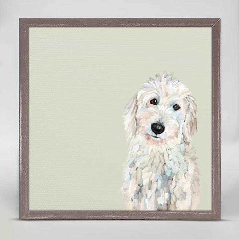 Best Friend White Golden Doodle Mini Framed Canvas