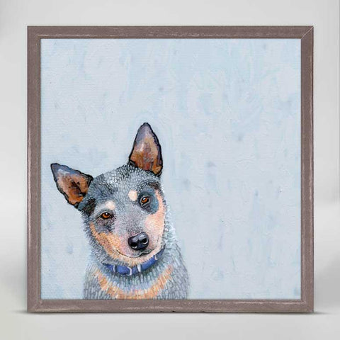 Best Friend Blue Heeler Dog Mini Framed Canvas