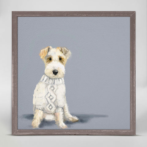 Green Box Sweater Dog Mini Framed Canvas