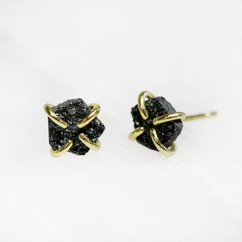 Druzy Prong Earrings In Black Jax Kelly