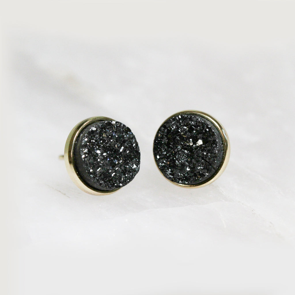 Black Druzy Cluster Earrings Jax Kelly