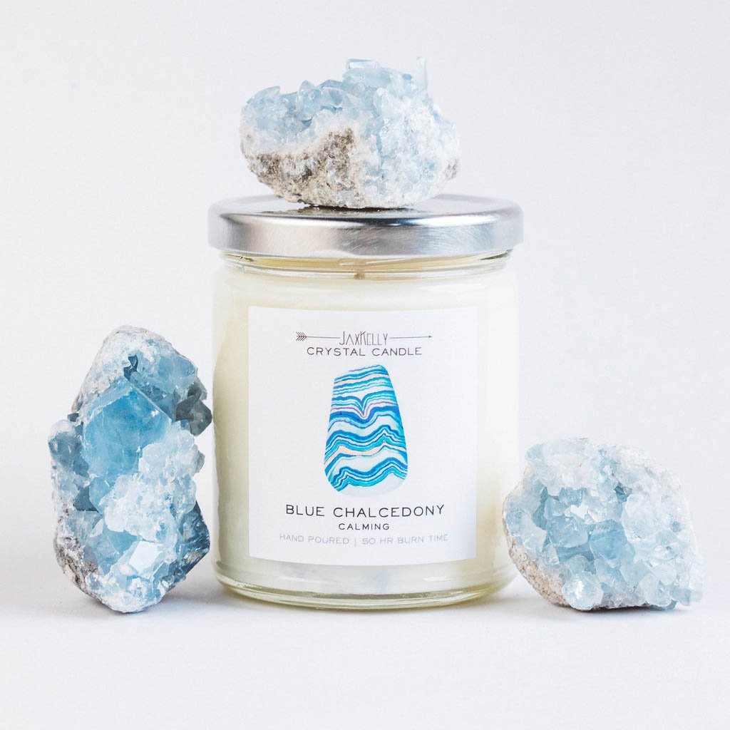 Blue Chalcedony Crystal Candle – Calming Jax Kelly