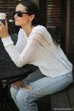 Boho Crew Cotton Sweater In White