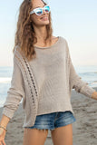 Boho Crew Cotton Sweater In Khaki