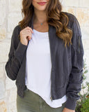 Grace & Lace 'Washed Tencel Bomber Jacket' In Slate