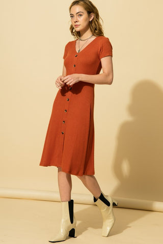 Silya Ribbed V-Neck Dress, Terra Cotta