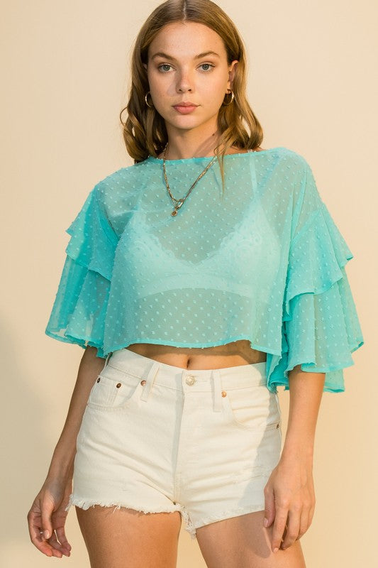 Isla Ruffle Sleeve Blouse, Mint