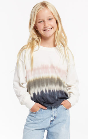 Girls Kaiya Stripe Dip-Dye Pullover, Bone
