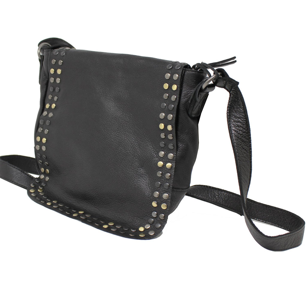Fleur Studded Leather Purse In Black