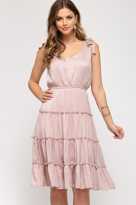 Annika Tiered Dress, Misty Pink