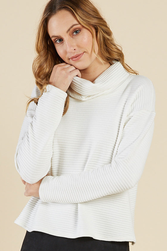 Chloe Cowl Neck Top, Ivory