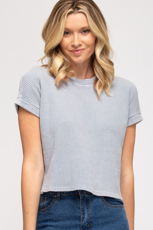 Alisa Thermal Knit Crop Top, Blue Grey
