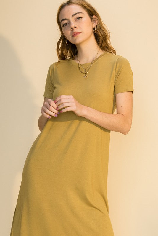 Freya T-Shirt Dress, Golden Lime