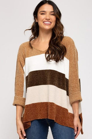 Sala Color Blocked Hi-Low Sweater, Camel/Brown