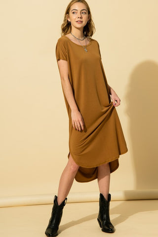 Ellie Short Sleeve Pocket Dress, Walnut