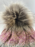 Beanie With Faux Fur Pom - Touch Of Pink