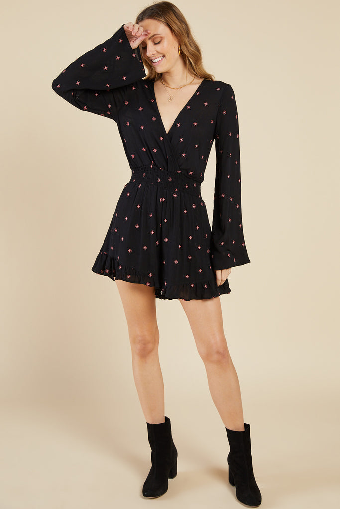 Bonfire Embroidered Romper, Black
