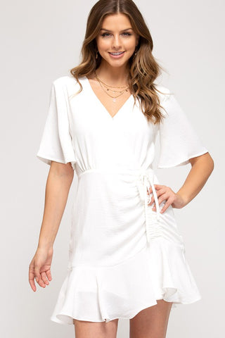 Ray Flutter Sleeve Ruched Dress, Off White