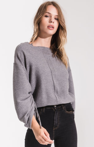 Lena Balloon Sleeve Sweater In Grey