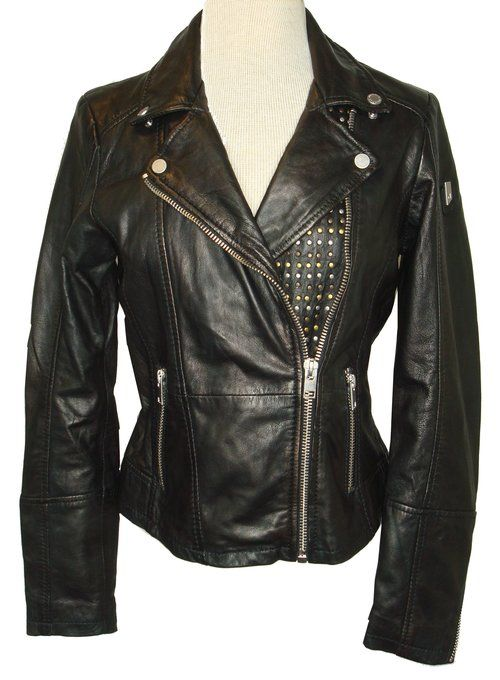 Neni Studded Black Leather Jacket