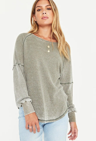 Alright Now Burnout Thermal Top, Sage Brush