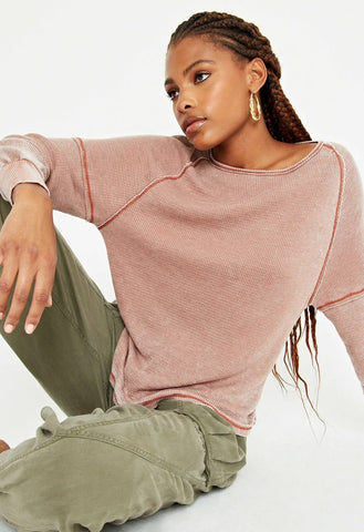 Alright Now Burnout Thermal Top, Salted Caramel