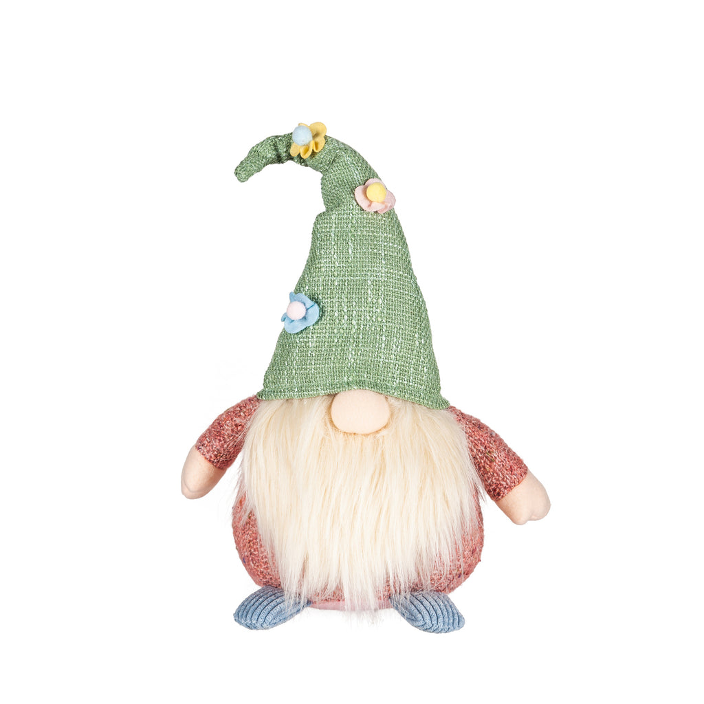 Gnome with Green Floral Hat and Pink Body