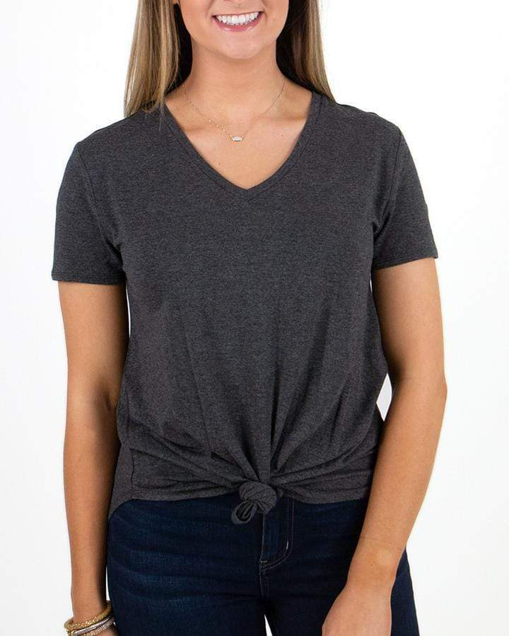 Short Sleeved Perfect V-Neck Tee by Grace & Lace, Charcoal