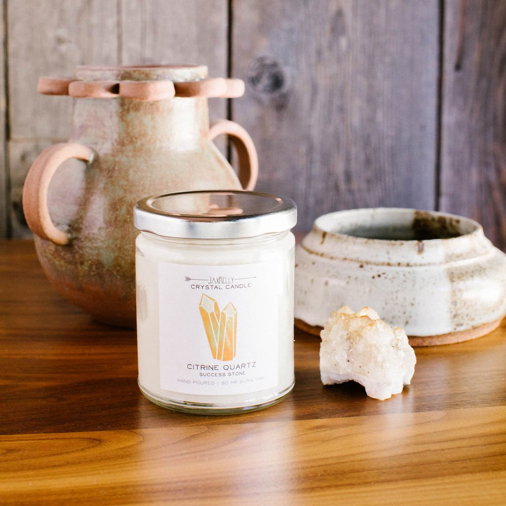 Citrine Crystal Candle – Success Jax Kelly