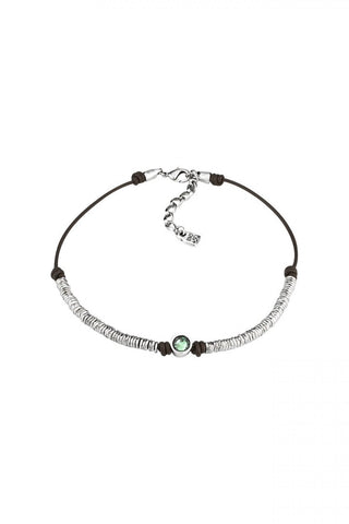 Leather Silver Green Crystal Necklace